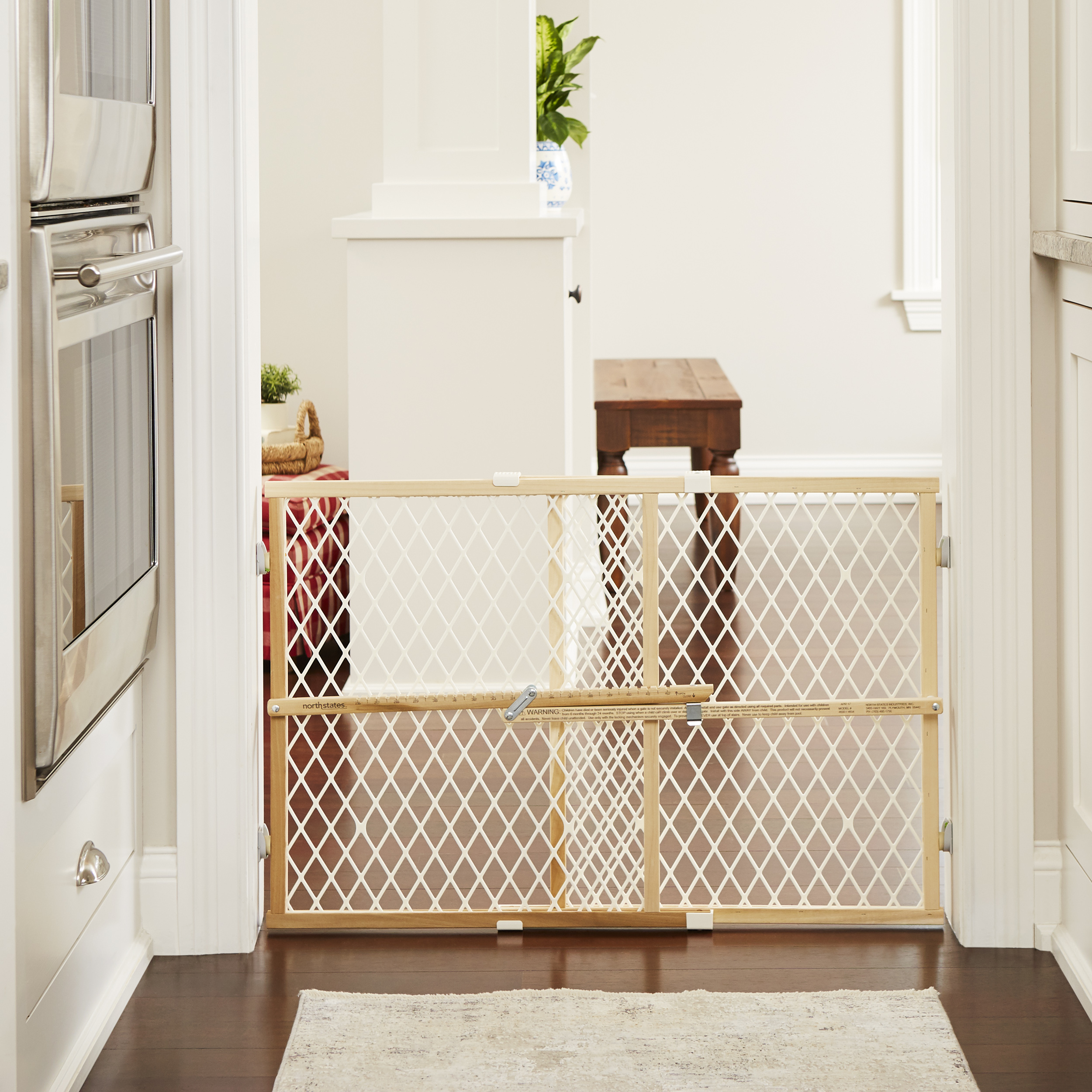North States Wood Frame Diamond Mesh Pet Gate White