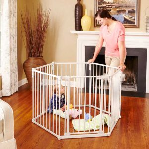 3-In-1 Metal Superyard with mother supervising