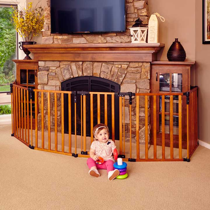 3-In-1 Wood Superyard with Baby Sitting by Fireplace