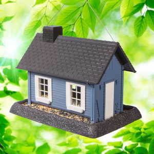 Large Blue Cottage Birdfeeder