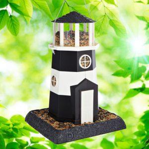 Large Black/White Lighthouse Birdfeeder