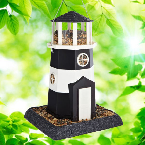 Large Black/White Lighthouse Birdfeeder