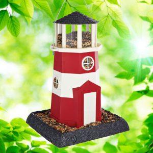 Large Red/White Lighthouse Birdfeeder