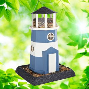 Large Nautical Blue/White Lighthouse Birdfeeder