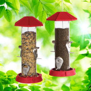 2-In-1 Hinged-Port Birdfeeder 4-Perch Red