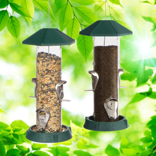 2-In-1 Hinged-Port Birdfeeder 4 Perch Green