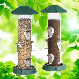 2-In-1 Hinged-Port Birdfeeder 6-Perch Green