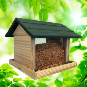 Large Log Cabin Birdfeeder