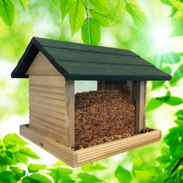 Large Log Cabin Birdfeeder