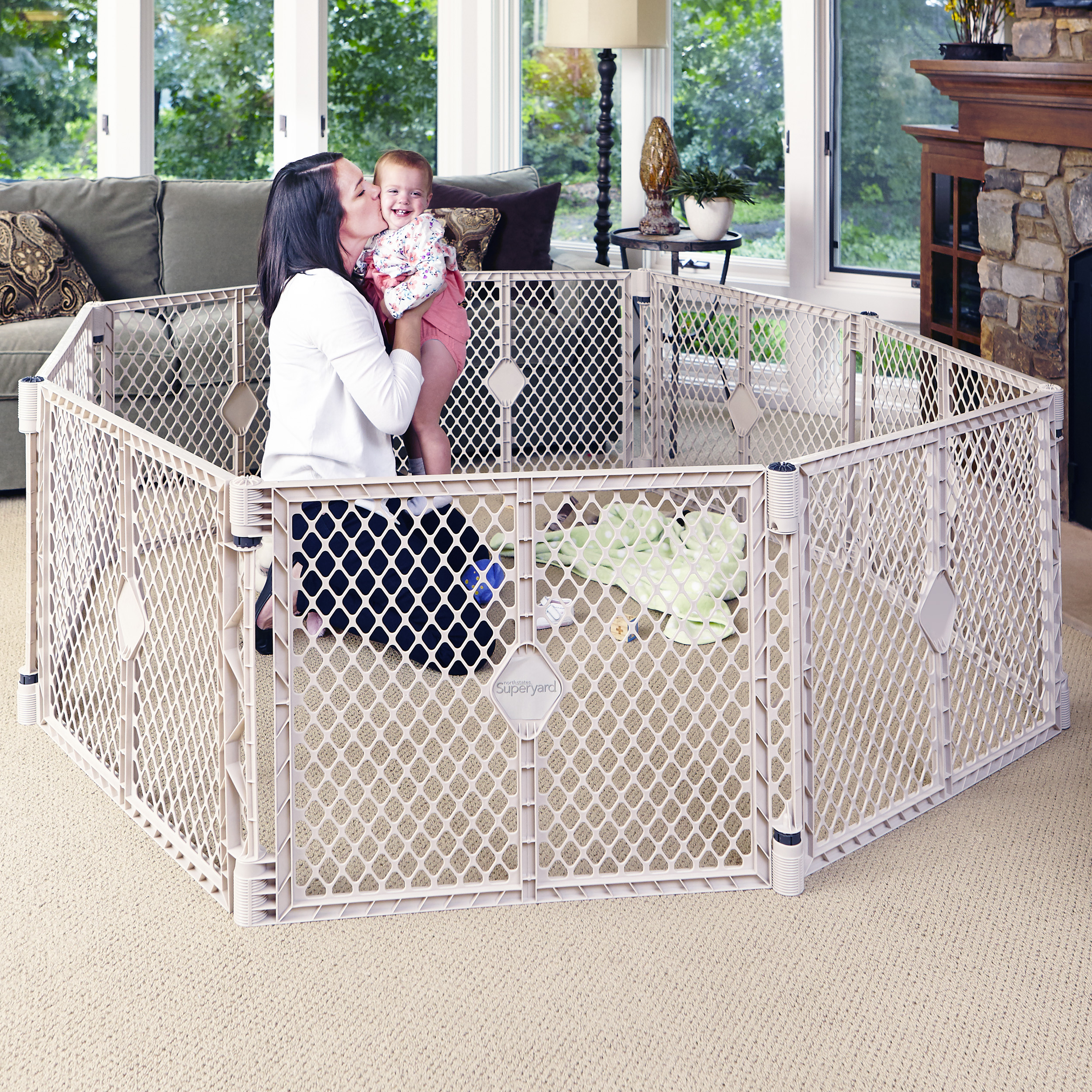 6 Panel Portable Indoor Outdoor Baby Superyard Playard Safety North States Fence