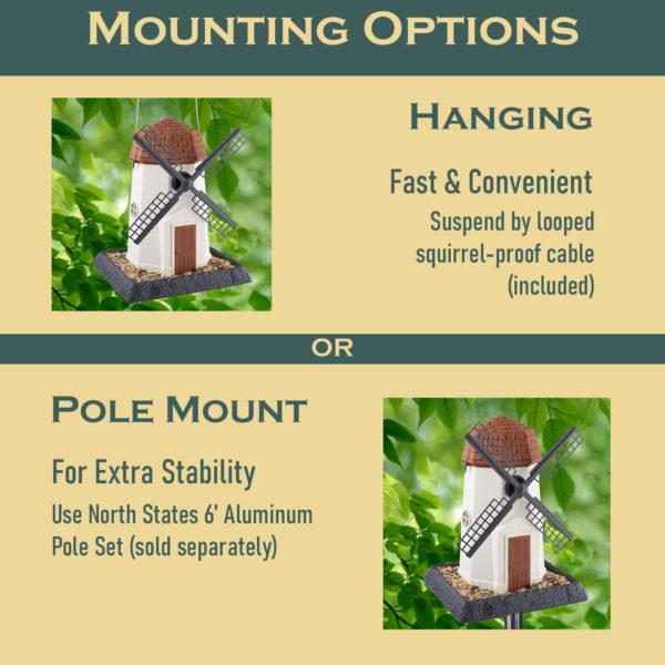 White Windmill Birdfeeder Mounting Options