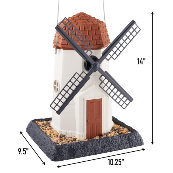 White Windmill Birdfeeder Dimensions