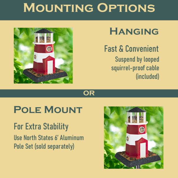 Large Red/White Lighthouse Birdfeeder Mounting Options