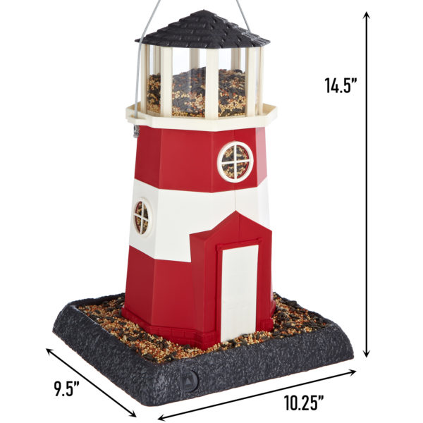 Large Red/White Lighthouse Birdfeeder Dimensions