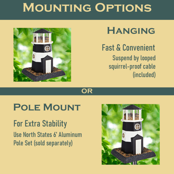 Large Black/White Lighthouse Birdfeeder Mounting Options