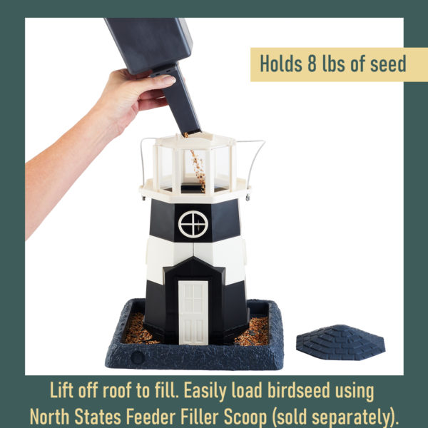 Large Black/White Lighthouse Birdfeeder Filling