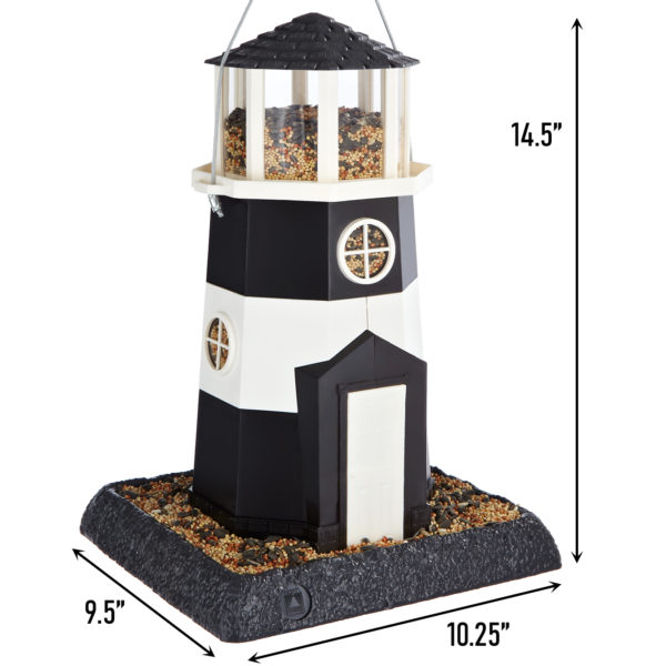 Large Black/White Lighthouse Birdfeeder Dimensions