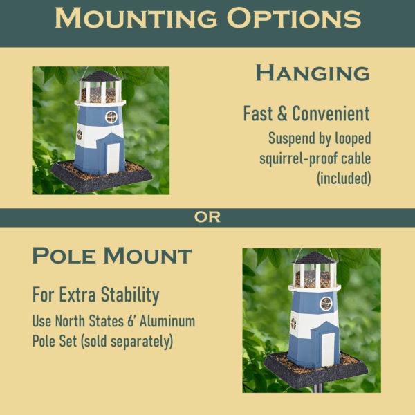 Large Nautical Blue/White Lighthouse Birdfeeder Mounting Options