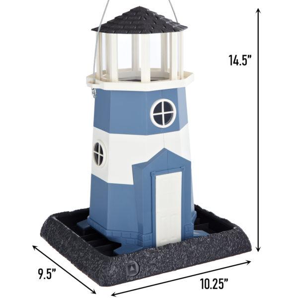 Large Nautical Blue/White Lighthouse Birdfeeder Dimensions