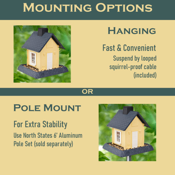 Yellow Cottage Birdfeeder Mounting Options