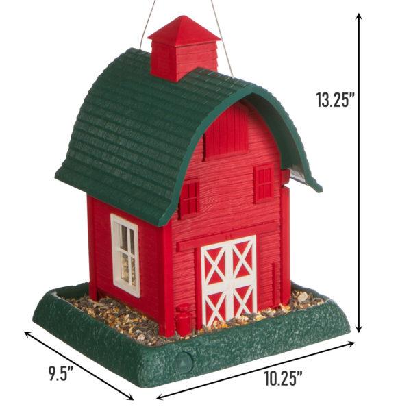 Red Barn Birdfeeder Dimensions