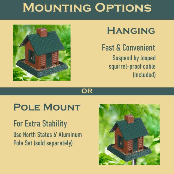 Log Cabin Birdfeeder Mounting Options