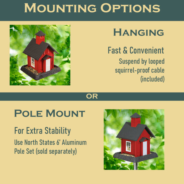 School House Birdfeeder Mounting Options