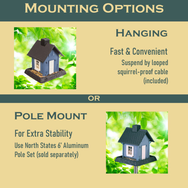 Blue Cottage Birdfeeder Mounting Options