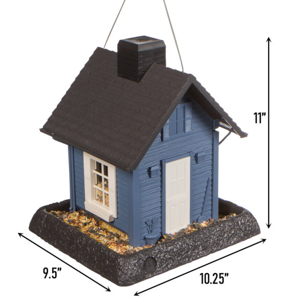Blue Cottage Birdfeeder Dimensions
