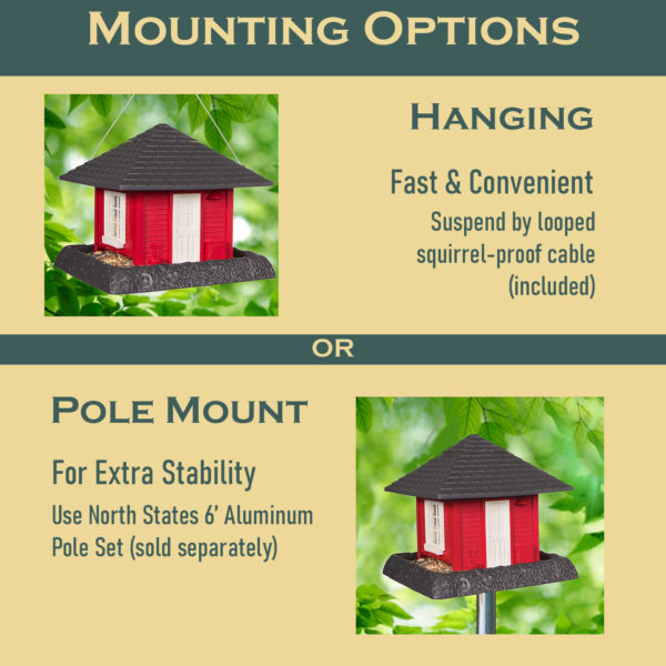 Garden House Birdfeeder Mounting Options