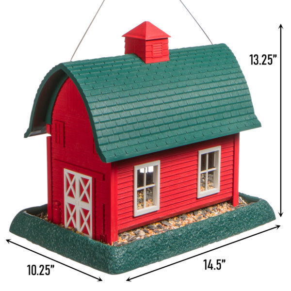 Large Red Barn Birdfeeder Dimensions