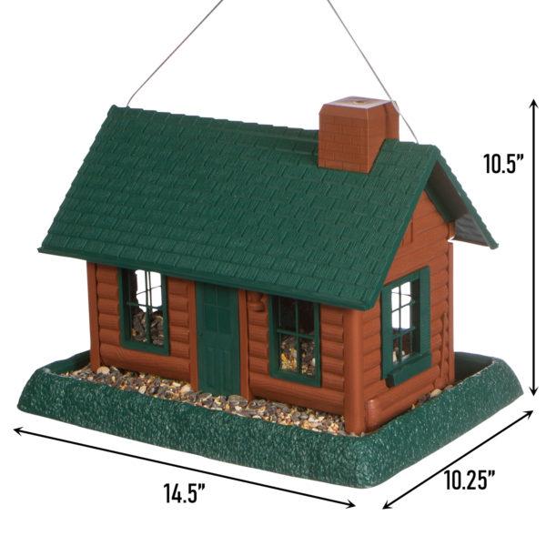 Large Log Cabin Birdfeeder Dimensions