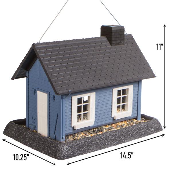 Large Blue Cottage Birdfeeder Dimensions