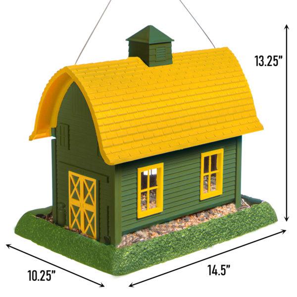 Large Green Barn Birdfeeder Dimensions