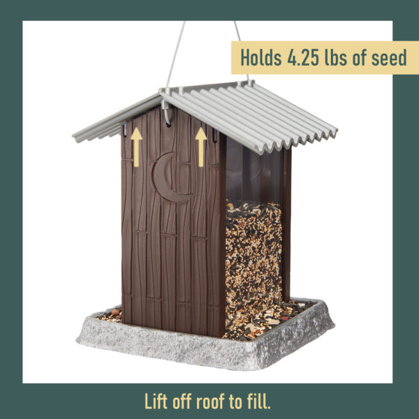 Outhouse Birdfeeder Filling