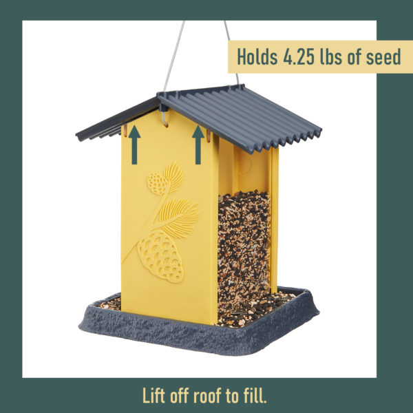 Yellow Pinecone Birdfeeder Filling