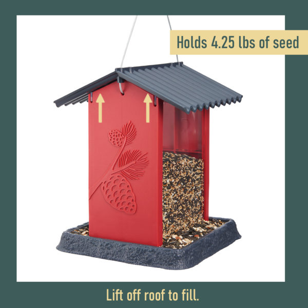 Red Pinecone Birdfeeder Filling