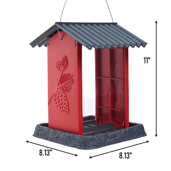 Red Pinecone Birdfeeder Dimensions
