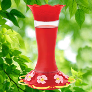 Wildflower Glass 20 oz. Hummingbird Feeder